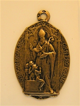 "Saint Nicholas Medal 1 1/8""- Catholic religious medals in authentic antique and vintage styles with amazing detail. Large collection of heirloom pieces made by hand in California, US. Available in true bronze and sterling silver."