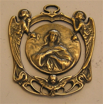 Mary Queen of Angels Medal Art Nouveau, large openwork medallion - Catholic religious medals in authentic antique and vintage styles with amazing detail. Large collection of heirloom pieces made by hand in California, US. Available in bronze and sterling