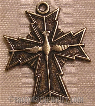 "Holy Spirit Cross Medal 1"" - Catholic religious medals in authentic antique and vintage styles with amazing detail. Large collection of heirloom pieces made by hand in California, US. Available in true bronze and sterling silver."