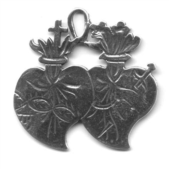 "Twin Hearts Medal Etched 1 1/2"" - Catholic religious medals in authentic antique and vintage styles with amazing detail. Large collection of heirloom pieces made by hand in California, US. Available in true bronze and sterling silver."