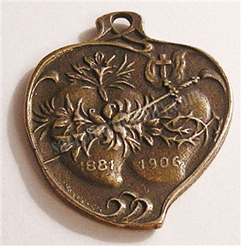 "Twin Hearts Medal 1"" - Catholic religious medals in authentic antique and vintage styles with amazing detail. Large collection of heirloom pieces made by hand in California, US. Available in true bronze and sterling silver."