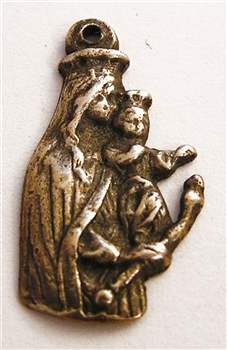 "Blessed Mother Medal Baby Jesus 1"" - Catholic religious medals in authentic antique and vintage styles with amazing detail. Large collection of heirloom pieces made by hand in California, US. Available in true bronze and sterling silver."