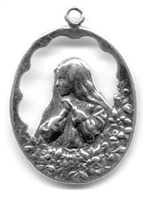 "Virgin Mary with Flowers Medal 1 1/4"" - Catholic religious medals in authentic antique and vintage styles with amazing detail. Large collection of heirloom pieces made by hand in California, US. Available in true bronze and sterling silver."