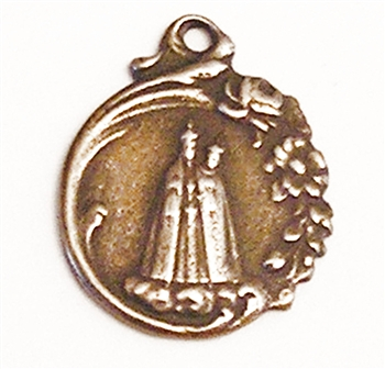 Mother Mary Medal 1' - Catholic religious medals in authentic antique and vintage styles with amazing detail. Large collection of heirloom pieces made by hand in California, US. Available in true bronze and sterling silver.