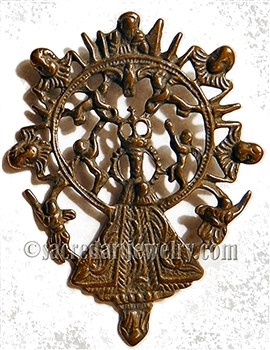 "Mary Queen of Angels Medal 2"" - Catholic religious medals in authentic antique and vintage styles with amazing detail. Large collection of heirloom pieces made by hand in California, US. Available in true bronze and sterling silver."