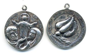 "Holy Family Medal 1 1/8"" - Catholic religious medals in authentic antique and vintage styles with amazing detail. Large collection of heirloom pieces made by hand in California, US. Available in true bronze and sterling silver."