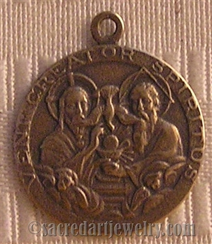 "Holy Trinity Medal 1"" - Catholic religious medals in authentic antique and vintage styles with amazing detail. Large collection of heirloom pieces made by hand in California, US. Available in true bronze and sterling silver."