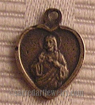 "Small Heart Scapular Medal 1/2"" - Catholic religious medals in authentic antique and vintage styles with amazing detail. Large collection of heirloom pieces made by hand in California, US. Available in true bronze and sterling silver."