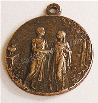 "Marriage Medal 3/4"" - Catholic religious medals in authentic antique and vintage styles with amazing detail. Large collection of heirloom pieces made by hand in California, US. Available in true bronze and sterling silver."
