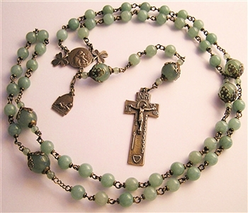 Antique Irish Rosary with Irish Penal crucifix and gemstone rosary beads, Green Aventurine, Handmade - Catholic religious bronze medals in authentic antique and vintage styles with amazing detail. Large collection of heirloom pieces made by hand in the US