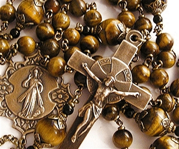 Divine Mercy Rosary - Handmade in Bronze with Tiger Eye Gemstone Beads
