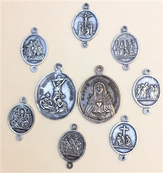 Seven Sorrows, 8 pcs.- Medal and 7 links Set