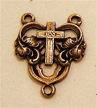 Heart with Cross White Bronze Rosary Center  5/8""