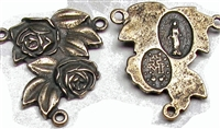 Two Roses White Bronze Rosary Center 7/8""