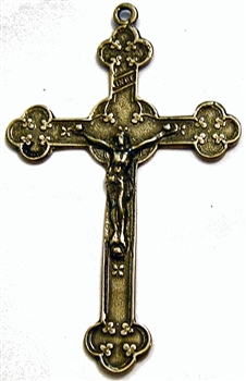 Irish Clovers White Bronze Crucifix 2 3/4""