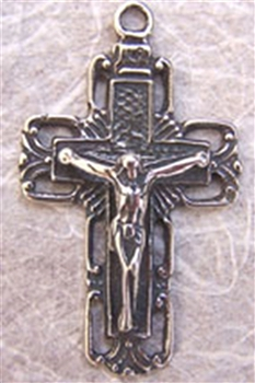 Squared White Bronze Crucifix 1 3/4""