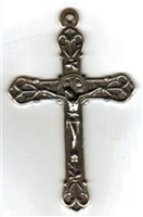 Large Elegant White Bronze Crucifix 2 1/2""
