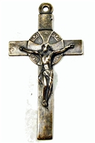 19th Century Spain White Bronze Crucifix 2 3/4""