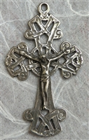Antique Celtic White Bronze Crucifix 2 3/8""