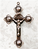 Four Roses White Bronze Crucifix 2 3/8""