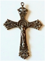 Double Nimbus White Bronze Crucifix 2 1/2""