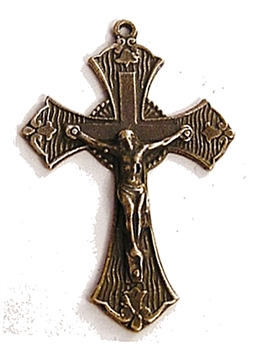Patterned White Bronze Crucifix 1 3/4""