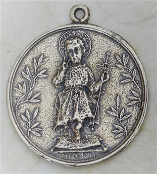 Child Jesus White Bronze Medal 1 3/8""