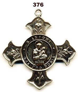 St Anthony Armenian White Bronze Cross Medal 2 1/4""