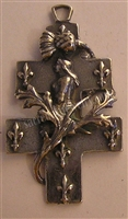 Joan of Arc White Bronze Cross of Lorraine 2""