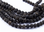 10mm Natural Agate Tibetan Style Dzi Round Beads - Crackle Dark Browns / Black Eyes