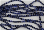 4mm Firepolish Czech Glass Beads - Blue With Black Swirl