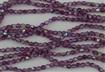 4mm Firepolish Czech Glass Beads - Coated Transparent Violet AB