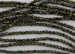 4mm Firepolish Czech Glass Beads - Metallic Green