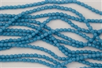 4mm Firepolish Czech Glass Beads - Opaque Blue Turquoise