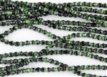 4mm Firepolish Czech Glass Beads - Pearly Dark Green With Black