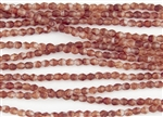 4mm Firepolish Czech Glass Beads - HurriCane Crimson Chrysalis Matte