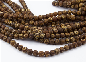 8mm Natural Agate Tibetan Style Dzi Round Beads - Crackle Ambers / Browns / Creams / Picasso Eyes
