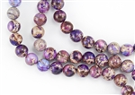 10mm Aqua Terra Jasper Gemstone Round Beads - Light Purple