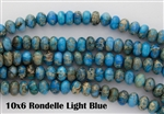 10x6mm Aqua Terra Jasper Gemstone Rondelle Beads - Light Blue