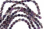 10x8mm Aqua Terra Jasper Gemstone Puffed Oval Beads - Dark Purple