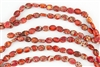 10x8mm Aqua Terra Jasper Gemstone Puffed Oval Beads - Orange
