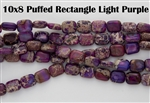 10x8mm Aqua Terra Jasper Gemstone Puffed Rectangle Beads - Light Purple