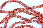 14x10mm Aqua Terra Jasper Gemstone Puffed Rectangle Beads - Light Red