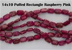 14x10mm Aqua Terra Jasper Gemstone Puffed Rectangle Beads - Raspberry Pink