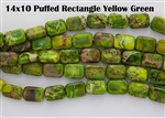 14x10mm Aqua Terra Jasper Gemstone Puffed Rectangle Beads - Yellow / Green