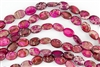 16x12mm Aqua Terra Jasper Gemstone Puffed Oval Beads - Raspberry