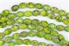 16x12mm Aqua Terra Jasper Gemstone Puffed Oval Beads - Yellow / Green