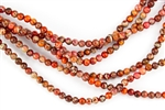 4mm Aqua Terra Jasper Gemstone Round Beads - Orange