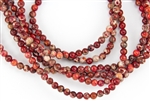 4mm Aqua Terra Jasper Gemstone Round Beads - Red