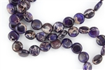 12mm Aqua Terra Jasper Gemstone Puffed Coin Beads - Dark Purple